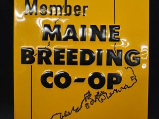 Maine Breeding Co Op singe sided embossed tin sign