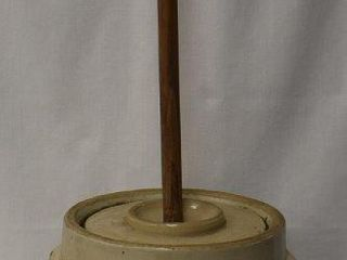 Western Stoneware 5 gal  butter churn crock lid and wooden paddle