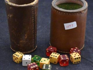 2  leather game cups w  assorment of dice