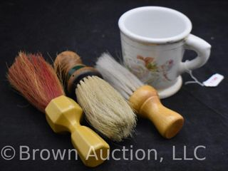 Mrkd  Germany shaving mug with  3  barber s brushes