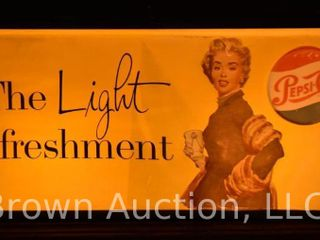 1950 s lighted Pepsi Cola box sign   great lady w muff and shawl