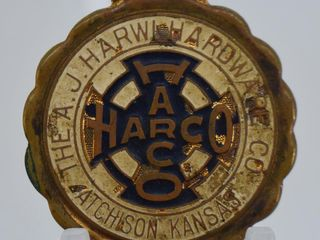 Rare Early 1900 s A J  Harwi Hardware Co  watch fob