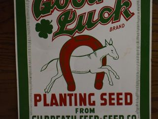 Good luck planting seed single sided tin sign