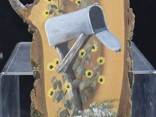 Archie Shepard painting on 13 5 l driftwood   mailbox and sunflowers