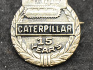 Caterpillar Inc  Cat Tractor Sterling Silver 15 year employee service award pin