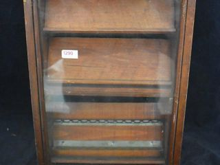 Counter top wooden store display case  10  sq  dia  X 16  tall