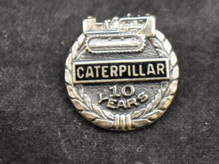 Caterpillar Inc  Cat Tractor Sterling Silver 10 year employee service award pin