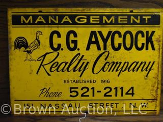 C G  Aycock Realty Co  single sided tin sign