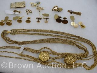 Assortment of jewelry  Necklace  gold cuff links  tie clip  etc