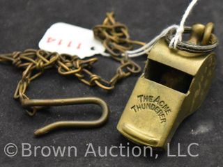 Vintage military police  The Acme Thunderer  whistle and chain