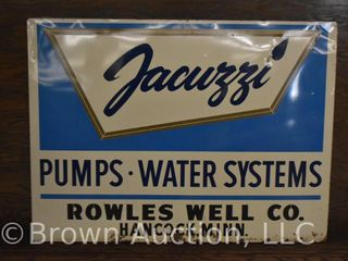 Jacuzzi single sided tin dealer sign