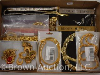 Assortment of jewelry   necklaces  many gold colored  some 18K