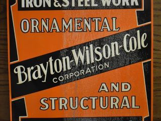 Brayton wilson Cole Corp  single sided embossed tin advertising sign