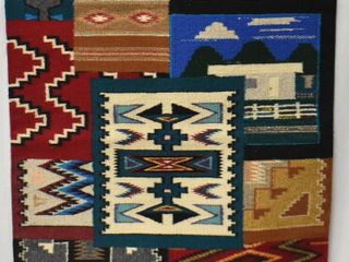 Southwest Native American style rug wall hanging  bright colors and multi designed
