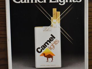 Camel lights single sided embossed tin sign
