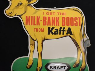 Kaff A Milk Bank Boost single sided embossed tin sign