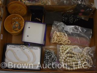 Assortment of jewelry   pearls  earrings  etc