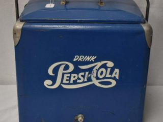 Vintage Pepsi Cola blue metal cooler ice chest