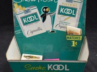 1950 s Kool Cigarette tin advertising store display with match holder
