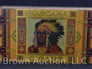 Brightly colored tin cigar box for Wascana Cigars