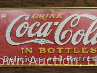 Coca Cola embossed sst advertising sign  1930 s