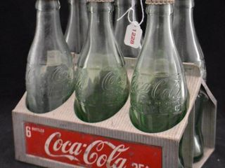 1950 s Coca Cola metal bottle carrier with  6  bottles w caps