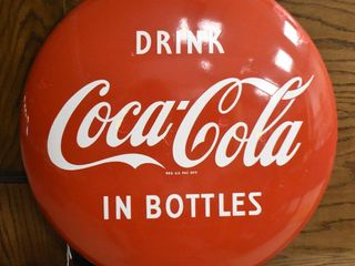 Drink Coca Cola in bottles  metal button advertising sign