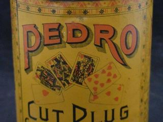 Scarce Pedro Cut Plug litho tobacco can w playing cards motif