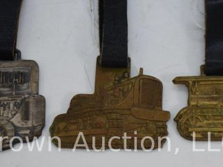 3  Trac Tractor watch fobs w  leather straps
