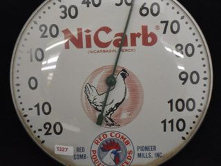 NiCarb Red Comb Poultry Feeds 10  round dia  advertising thermometer