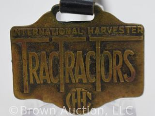 International Harvester TracTracTors IHC watch fob w  leather strap