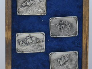 4  Charles Russell pewter belt buckles