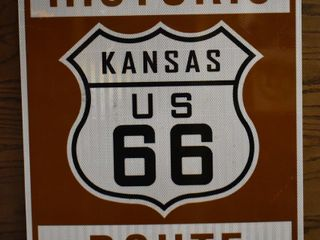 Historic Kansas Route 66 single sided metal sign