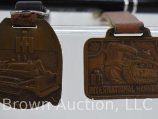 2  International Harvester watch fobs w  leather straps