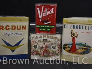 4  Assorted tobacco tins