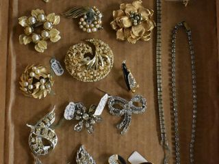 Assortment of jewelry incl  rhinestone pins  bracelet  necklace  etc
