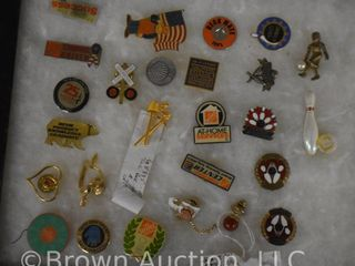 Assortment of tie tacks and pins   advertising and several bowling themed