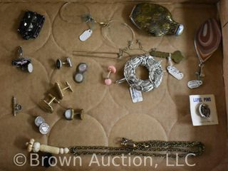 Assortment of jewelry incl  cuff links  necklace pendants  etc