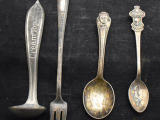 Souvenir Spoons and pickle fork