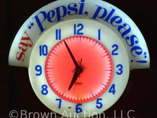 Rare Vintage  say Pepsi  please  neon clock by Cleveland Clock Co