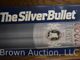 Coors light  The Silver Bullet  embossed single sided tin sign