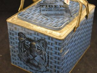 Tiger Chewing tobacco tin lunch box in RARE blue color