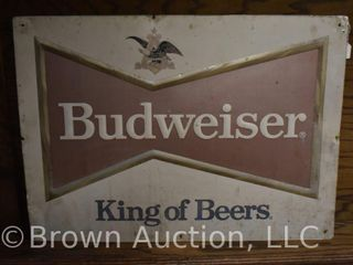 Budweiser embossed single sided tin sign