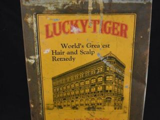 lucky Tiger World s Greatest Hair and Scalp Remedy tin
