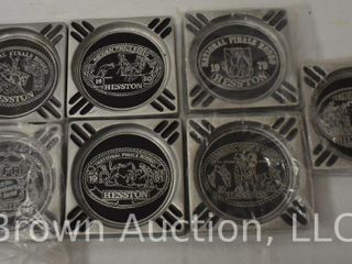 7  Hesston NFR Collector s pewter ashtrays  1978 1984