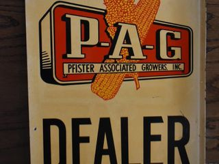 P A G Pfister seeds double sided tin flange dealer sign