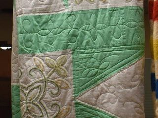 Embroidered stitched quilt  greens