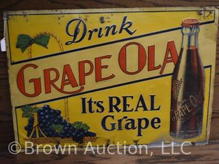 Grape Ola single sided embossed tin sign