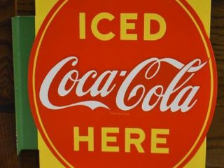 Porcelain 2 sided  Coca Cola Iced Here  flange sign