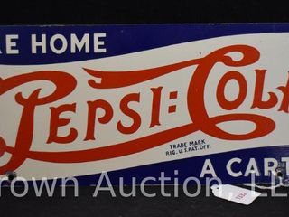 Pepsi Cola  Take Home a Carton  porcelain double sided advertising sign  double dot